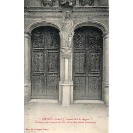 carte postale ancienne - VETHEUIL (S. et O.) - Portail Sud de l'Eglise - Portes en bois sculpté du XII ° siècle (Monument historique)