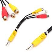 C�ble Adaptateur Mini AV St�r�o M�le � 3 RCA Femelle Audio Vid�o C�ble Jack