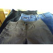 3 Pantalons Femme Tailles 36 - 2 Fabriqu�s En France - Un Jean ,Un Coton Elasthane Marron,Un Pantalon Noir Habill� Polyesther (Sibaolong,Axara & Sans) - 1 � Pinces,1 Droit ,Jean Un Peu �vas�