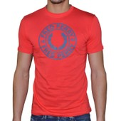 Fred Perry - T-Shirt Manches Courtes - Homme - Round Logo Print M2210 - Rouge Summer
