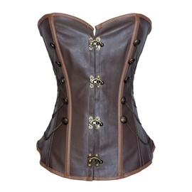 Femme Corset Bustier Serre-Taille Steampunk Marron - Gothique Rave Baroque Body Rassembler Corset Marron