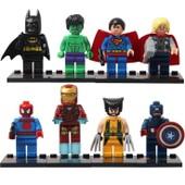 Str� Lot De 8 Avengers,Super-H�ros Figurines Ensemble Jeu De Construction,Avec Arme Inclus,8 Pcs/Set