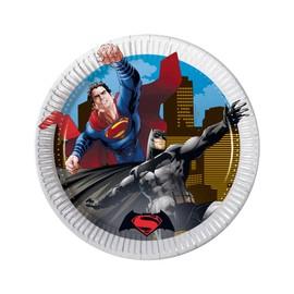8 Petites Assiettes En Carton Batman Vs Superman 19.5 Cm