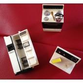 Lot De 3 Magnets Vintages, Frigo Gaziniere Et Machine A Laver