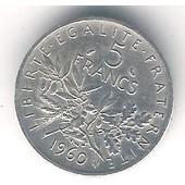 Pi�ce 5 Francs Argent 1960- Semeuse O. Roty
