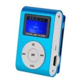 Mini Lecteur MP3 clip Avec �cran LCD et �couteur en m�tal Mp3 Player support carte m�moire SD bleu