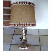 Lampe De Chevet Ancienne - Pied En Laiton, Abat-Jour Recouvert De Toile De Jute (Tach� Sur Un C�t�) � Hauteur Totale 29cm - Ampoule Fournie, Fonctionne Parfaitement