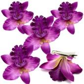 Pince Barrette A Cheveux Fleur A L�Unite Ou En Lot 5 Pcs Mariage Mariee Orchidee Femme Fille Soir�e Fete Epingle Tissu Hawai Color�e �t� Demoiselle D�Honneur Accessoire Mode Artificielle Elastique Deguisement Costume Sexy