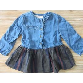 Robe Zara Coton 9-12 Mois Bleu