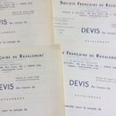 4 Devis De La Soci�t� Fran�aise De Ravalement. 1938