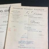 1 Devis & 1 M�moire : G. Denis, Couverture - Plomberie. 1934/37/ . 18 Pages