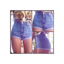 Les Femmes En Short Bleu Estival Chaud Jean Taille Haute, Pantalons Courts