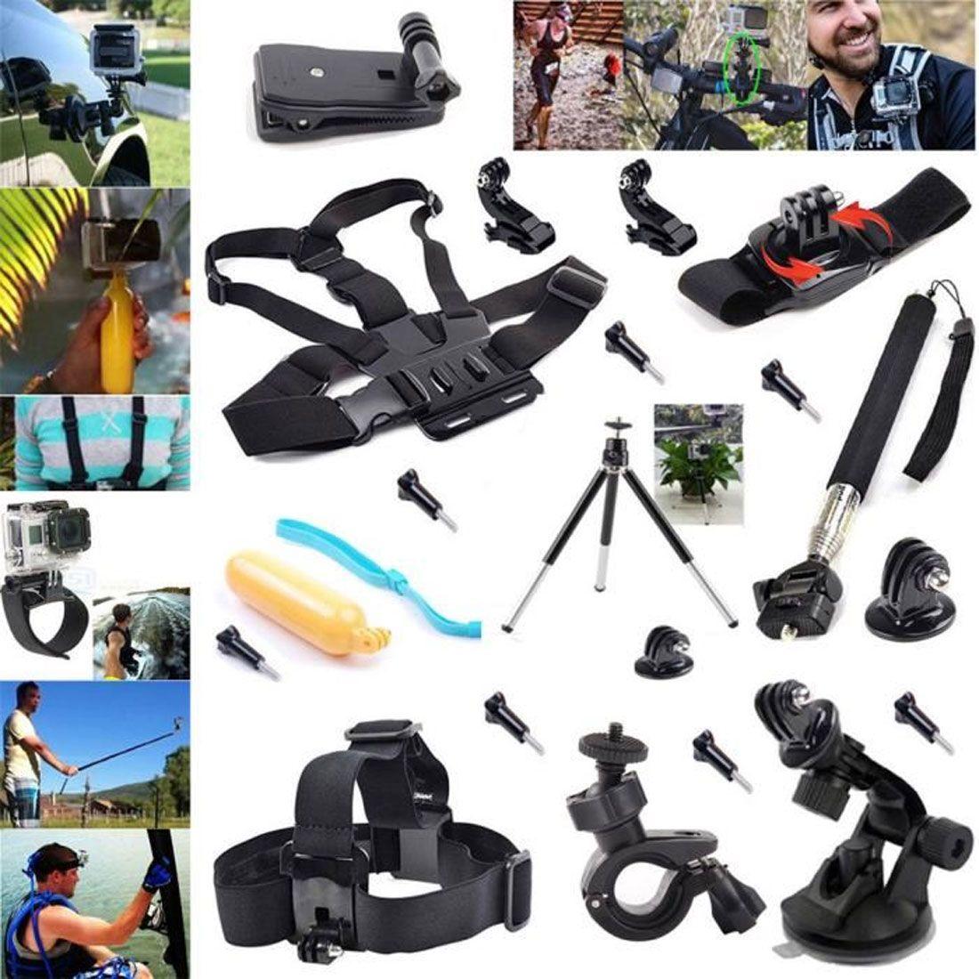 20en1 kit d'accessoires Pour Gopro Hero 2 3+ 4 SJ4000 Xiaomi Sports Action Cam�ra T�te Poitrine Grip