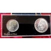 Rare Coffret Fdc Essai Monnaie De Paris Monaco 1960 5 Francs Argent Et 1 Franc 1960