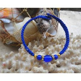 Bracelet Shamballa Bleu Avec Opales Oeil-De-Chat, Lapis-Lazuli, Strass
