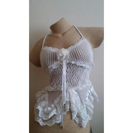 Bustier Sexy Resille Coton 36 Blanc