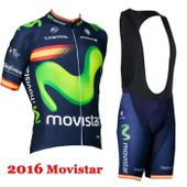 2016 Movistar Maillot De Cyclisme + Collant � Bretelles Cuissard Homme