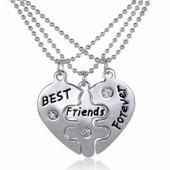Unisexe New 1 Set 3 Pcs Best Friends Forever Love Heart Colliers Pendentif Damiti Cadeau