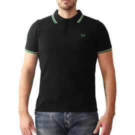 Polo Fred Perry, Manches Courtes, Liseret Col Et Manches Blanc Et Vert