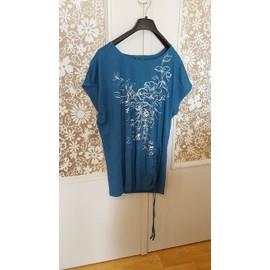Tunique M&s Mode Coton 46-48 Turquoise Taille Xl
