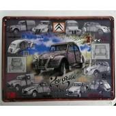 Plaque Vintage 15 X 20 Citroen 2cv Grises