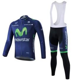 Movistar Maillot De Cyclisme Manches Longues + Cuissard V�lo � Bretelles 2015