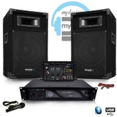 Pack Sono DJ500-AX-BT ampli + HP 500W Table de mix