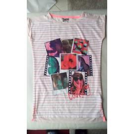 T-Shirt C&a Coton 14 Ans Ou 158 164 Ray� Blanc Et Orange Motif Brillant