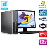 Lot PC HP Elite 8300 SFF I5-3470 3.2GHz 8Go 2To Graveur Wifi W7 + Ecran 19