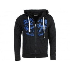 Sweat Hugo Zippe A Capuche Blk - Sweat Homme Crossby