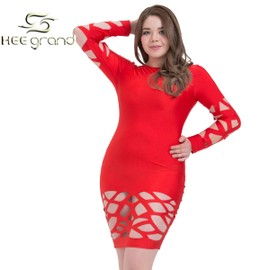 Hee Grand Femme Robe Sexy Rouge Evidement Au Cuisse Et Au Bras