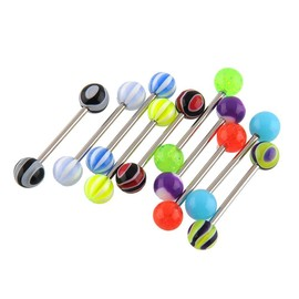 Magie 10pcs Stripes Billes Bars Tongue Barbell Piercing Bijoux Colorful