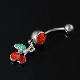 Belle Strass Red Cherry Navel Belly Bar Barbell Piercing Anneau Bijoux De Corps
