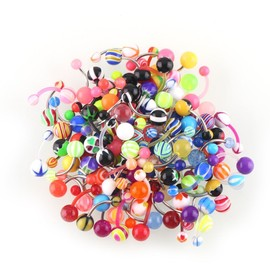 100pcs Styles Mixtes Body Jewelry Boule Navel Belly Piercing Bar Bague Bouton Hot