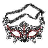 Black Lace Masque V�nitien Rouge Crystal Ball Masquerade Costume Halloween Prom