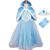 Princesse Reine D�guisement Enfant Fille Robe Avec Gants Couronne Cape Robe De Soir�e Partie Halloween Carnaval Cosplay