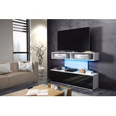 Cabinet Rtv Space Blanc Mat/Noir Brillant Avec Led