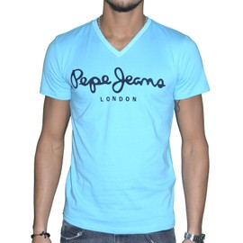 Pepe Jeans - T Shirt Manches Courtes - Homme - Original Stretch V - Broadway Bleu