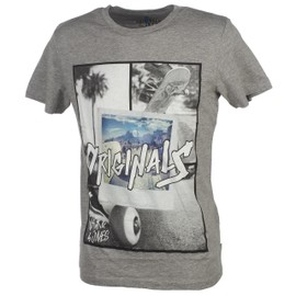 Tee Shirt Manches Courtes Jack And Jones Skater Gris Chine Mc Tee Gris 20238