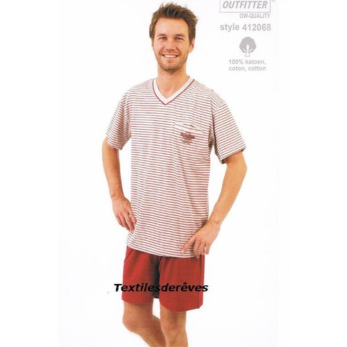 Pyjama homme courtes manches courtes jambes jersey outfitter 100 coton s A xxl