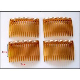 Lot De 4 X Peigne � Cheveux Avec Strass Et Perle/Kamm/Comb/Peine/Kam.