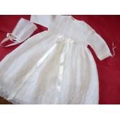 eacf3baf8a529 Ensemble Vêtement Inconnue Robe De Baptème A 3 Mois Dentelle 3 Mois Blanc