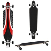 Longboard De [Pro.Tec] (104 X 23 X 9.5 Cm) - Abec 7- Roulements � Billes - Skateboard / Dropped Through/ Freeride Board / Cruising Board / Planche R�tro ? Couleur : Noir-Rouge-Blanc