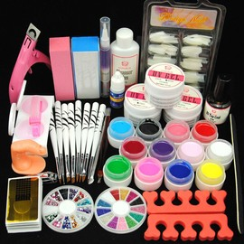 Kit Manucure Ongles UV Gel Couleur Decor Brosse Outils Limes Nail Art Tips