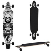 Longboard De [Pro.Tec] (104 X 23 X 9.5 Cm) - Abec 7- Roulements � Billes - Skateboard / Dropped Through/ Freeride Board / Cruising Board / Planche R�tro ? Couleur : Noir-Blanc