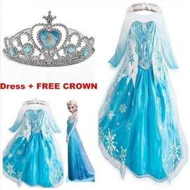 Kids Girls Dresses Elsa Frozen Dress Costume Princess Anna Party Dresses