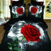 Parure De Lit 3d Effet �vident Rose Rouge Belle Et Romantique Pour 2 Personnes 200*230cm 4 Pieces