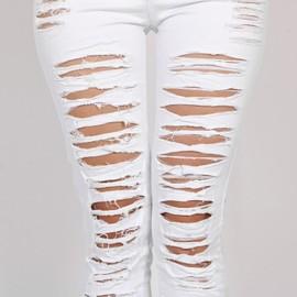 Mode Pour Dames/Femme Coton Denim D�chir� Trou Punk D�coupe Femmes Sexy Pantalon Skinny Jeans Femme Leggings Pantalon Noir / Blanc