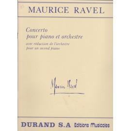 Ravel.Concerto pour piano et orchestre avec réduction de l'orchestre pour un second piano. Durand,