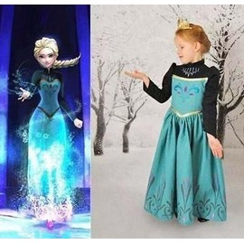 Girls Costume For Frozen Elsa Princess Anna Queen Cosplay Party Formal Dress